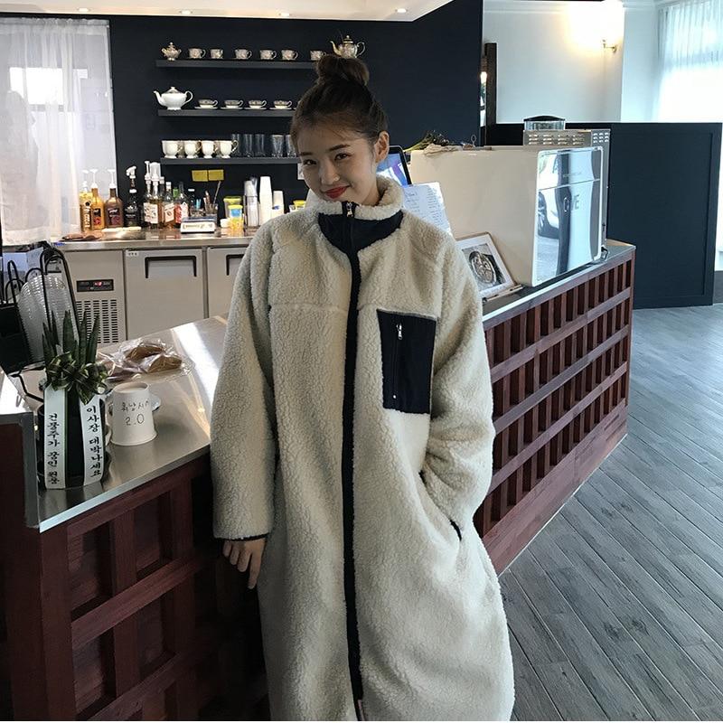 Autumn Winter Lamb Standing Collar Wear On Both Sides Zipper Color Matching Women Windbreaker Plus Size Long Jacket Warm Clothes