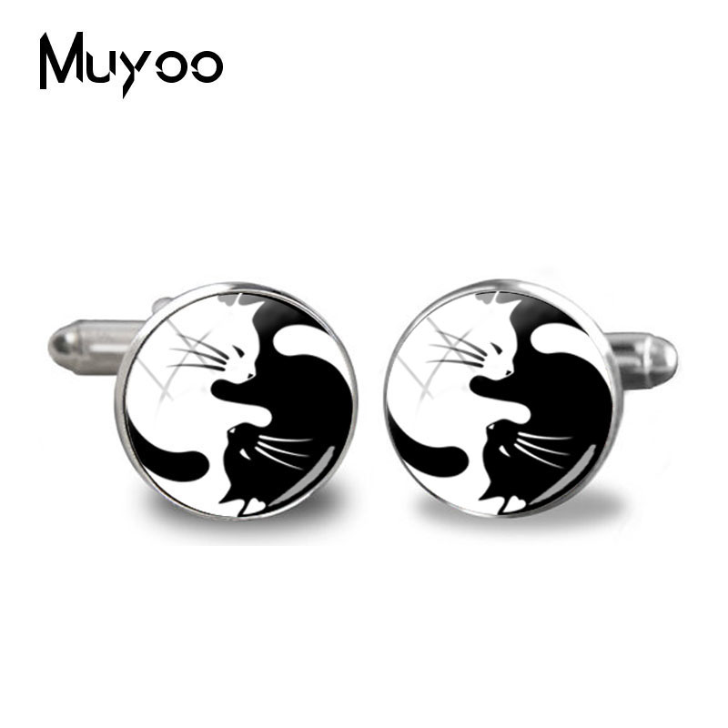 2018 nova yinyang abotoaduras para as mulheres preto branco gatos vintage vidro foto punhos jóias presentes redonda cúpula manguito