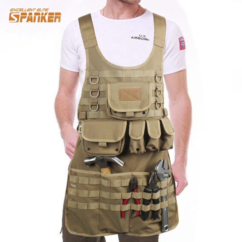 Tactical Camouflage Apron MOLLE Tank Mechanic Chef Military Cooking Aprons Tactical Vest Grilling Army Hunting Waterproof Nylon цена и фото