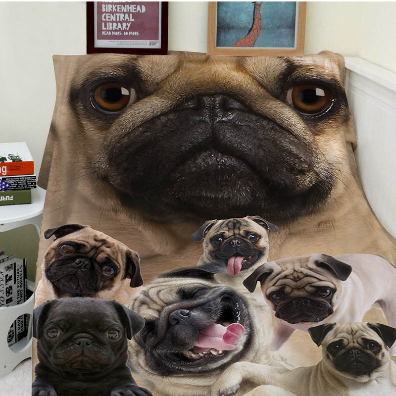Blanket Comfort Warmth Soft Plush Easy Care Machine Wash Pug Dog Sofa Bed Throw Kid Adult
