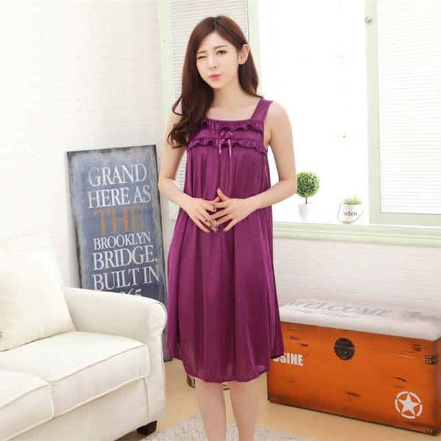 e63fa367c Longa camisola de seda camisola de verão para as mulheres plus size  senhoras lingerie vestes roupa