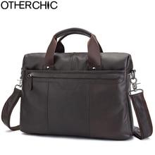 OTHERCHIC Brand Briefcase Men Genuine Leather Portfolios 14″ Laptop Business Messenger Crossbody Bag Men Lawyer Handbags 7N06-35