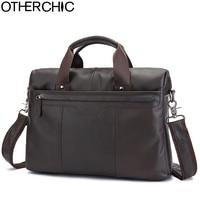 OTHERCHIC Brand Briefcase Men Genuine Leather Portfolios 14 Laptop Business Messenger Crossbody Bag Men Lawyer Handbags