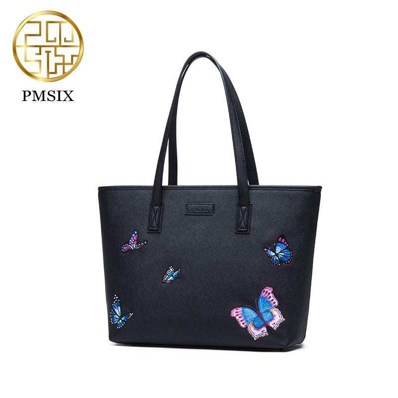 Pmsix 2017 butterfly embroidery handbag shopping bag simple fashion casual original designer female bags P240007 black free shipping butterfly shopping bag lovely pvc waterproof ted bag colorful jelly handbag women handbag with original logo