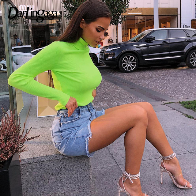 Darlingaga Winter turtleneck long sleeve t shirt women tops Fluorescent green fashion women's t-shirts 2018 casual knitted shirt