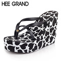 HEE GRAND 2017 New Wedges Sandals Summer Beach Flip Flops Casual Platform Shoes Woman Slip On Flats Shoes Sexy Creepers XWT633