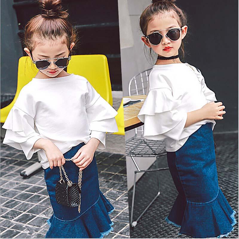 2017 printemps mode filles vêtements haut blanc + bleu queue de poisson jupe enfants fête costumes enfants vêtements pour 4-7y filles vêtements