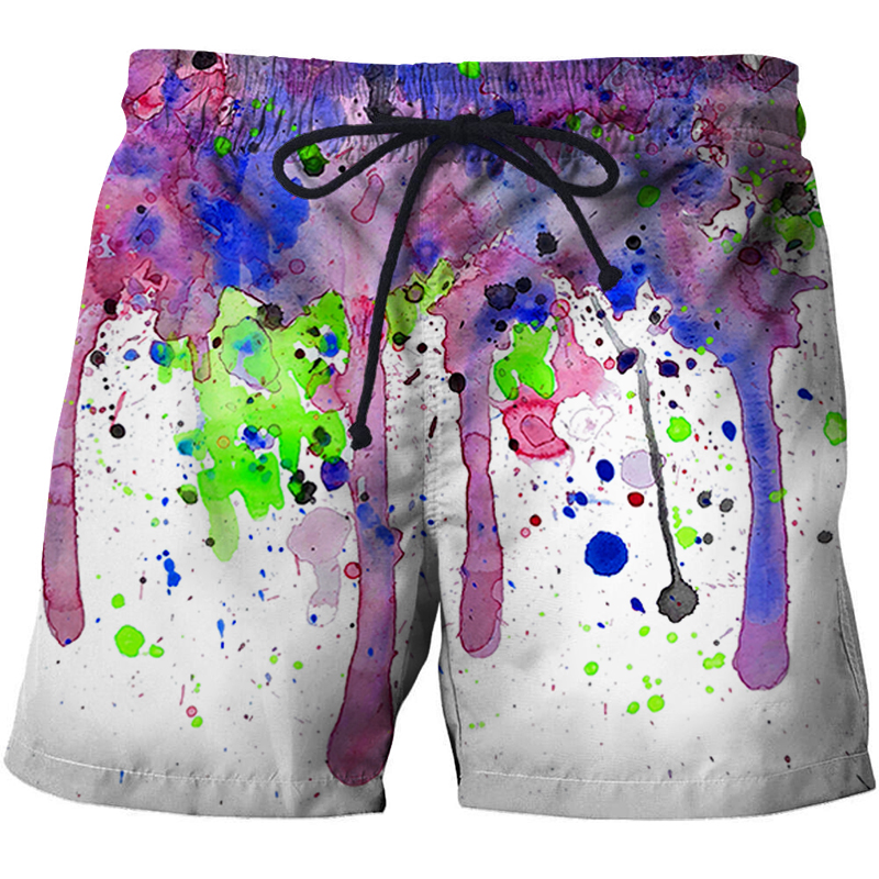 2019 New Summer Hot Men Surfing Beach   Shorts   Quick Dry Breathable   Board     Short   3D Pink Print Men Swim Trunk Bermuda Surf Swimming