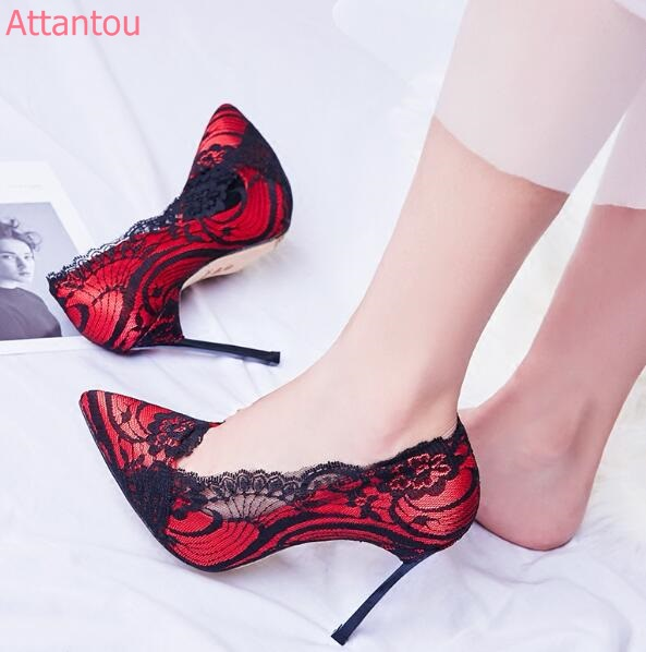 Pointed toe sexy lace wedding red shoes 12 cm/8 cm high heel shoes Bridesmaid high heel pumps thin heel lady high heels apoepo women high heel pointed toe slip on sexy pumps 10 cm and 12 cm nude high heel wedding bride shoes concise style stilettos