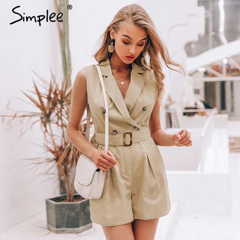 Simplee Elegant sashes khaki cotton women playsuit Summer pockets button zipper rompers short jumpsuit Office ladies overalls(China)