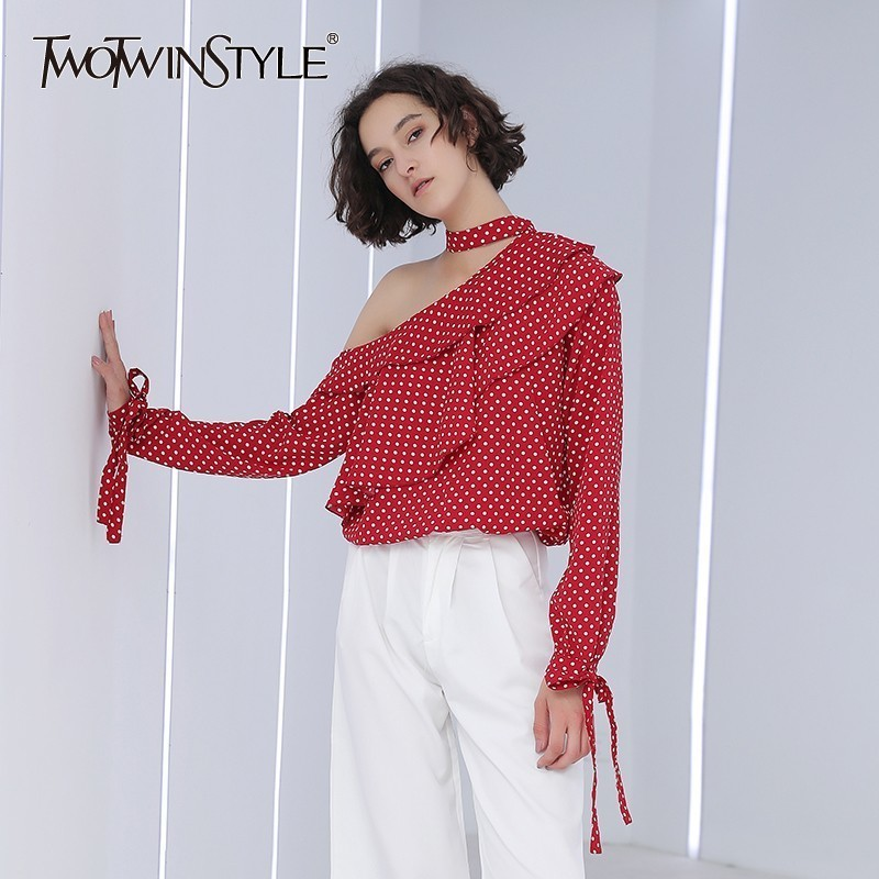 TWOTWINSTYLE Polka Dot   Blouse     Shirts   Female Ruffles Off Shoulder Lace Up Long Sleeve Women's   Blouse   Tops 2020 Spring Sexy Style