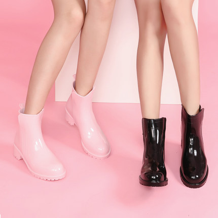 New Rubber Shoes Fashion Rain Boots Girls Ladies Walking Waterproof PVC Women's Boots Winter Woman Martins Rainboots Pink white