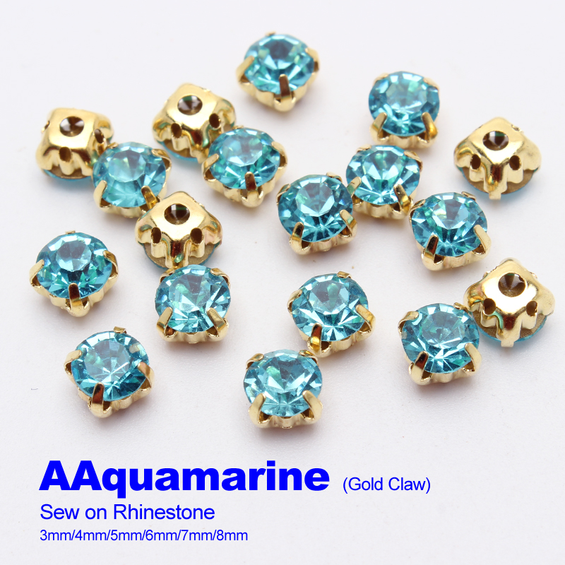Sew on Rhinestones Aquamarine Gold claw 4mm/5mm/6mm/7mm/8mm use for DIY accessories free shipping