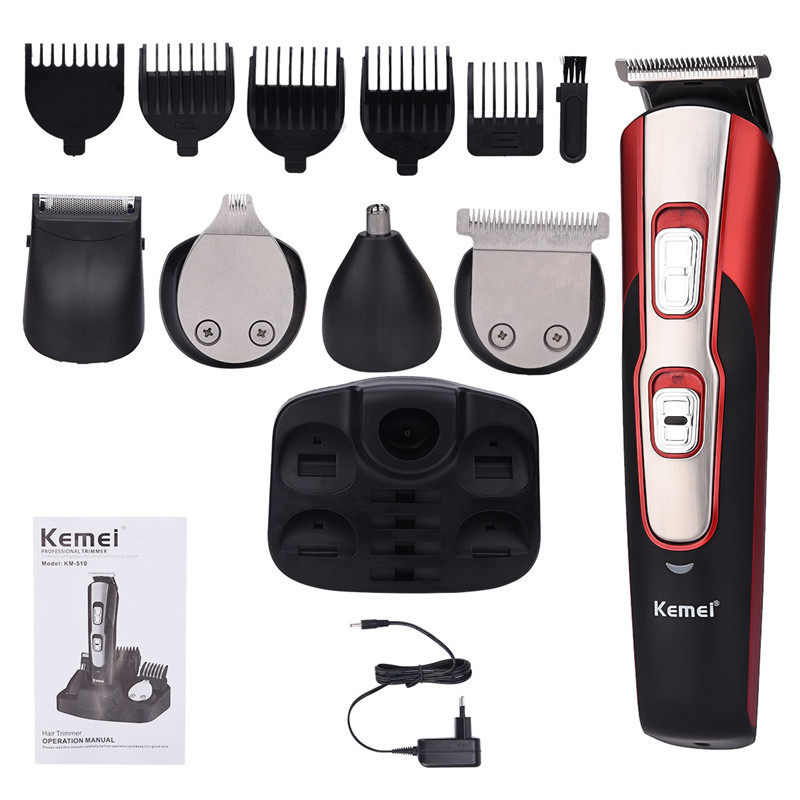 Kemei 5 in 1 Multifunctional Beard Trimmer Electric Hair Clipper Cordless Hair Trimmer Rechargeable Shaver Razor Nose Trimmer