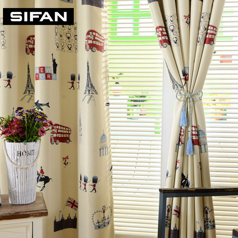 Cartoon Trees Curtains For Bedroom Cotton Linen Towel: Cartoon Tree Printed Yellow/Blue Blackout Curtains For