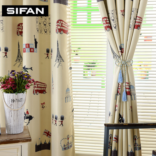 curtains for yellow living room area rug in and dining cartoon tree printed blue blackout bedroom children kids window