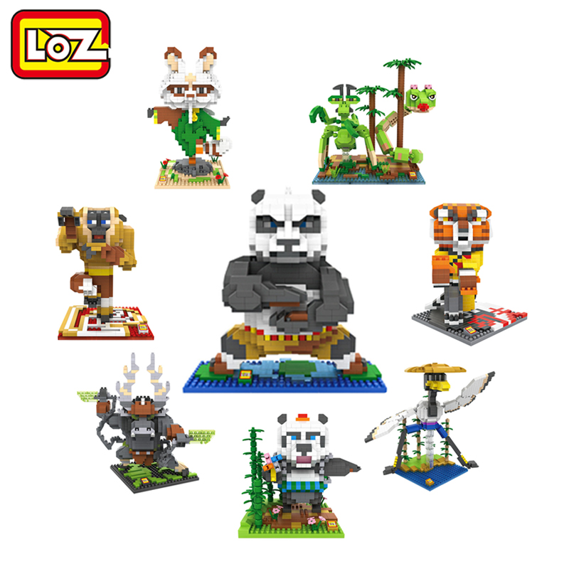 LOZ Kung Fu Panda Po Figure Toy 3D Model OPortugal Shifu Animals Cosplay Assembly Toys Diamond Building Blocks 14+ Gift movie kung fu panda 3 po bobble head car toys pvc figures collectible model gift 4 10cm kt1896