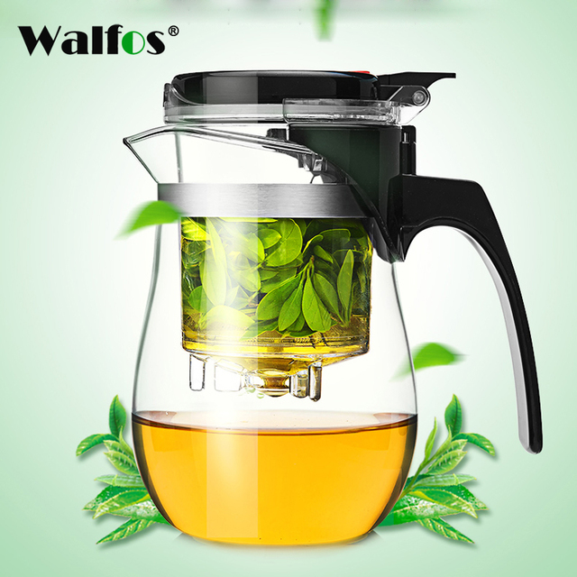 WALFOS High quality Heat Resistant Glass Teapot Chinese kung fu Tea Set Puer Kettle Coffee Glass Maker Convenient Office Tea Pot