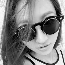 COOLSIR Fashion Vintage Round SteamPunk Flip Up Sunglasses Classic Double Layer Clamshell Design Sun Glasses Oculos De Sol