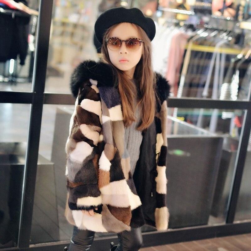2018 mejor Color mezcla de pieles de visón Real abrigo largo para niños abrigos de piel de zorro Natural genuino tamaño personalizado de lujo abrigos-in piel real from Ropa de mujer    1