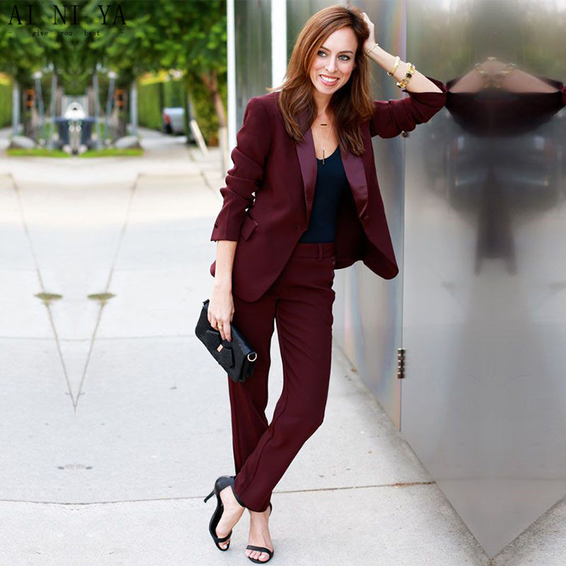 New Women Business Suits Wine Red Formal Pant Suits For Weddings Slim Office Uniform Ladies OL ...