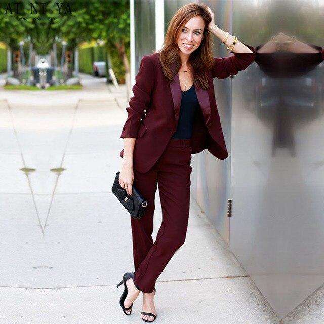 18307dad6d US $99.0 |Nuove Donne giacca e cravatta Vino Rosso Tailleur Pantalone  Formale Per Matrimoni Slim Ufficio Uniforme Signore OL Pantaloni  Abbigliamento ...