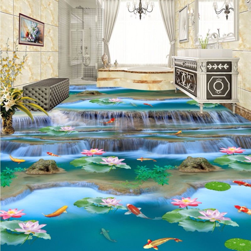 Free Shipping Flowing Water Making Money Streams Falls River 3D Floor painting bedroom living room bathroom wallpaper mural streams of stream classifications