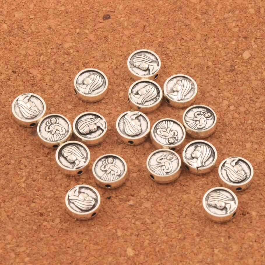 55pcs Virgin Mary Madonna Round Flat Beads Spacers 9 2X9 2mm Antique Silver Alloy Metal Bead Jewelry DIY L1838 in Beads from Jewelry Accessories
