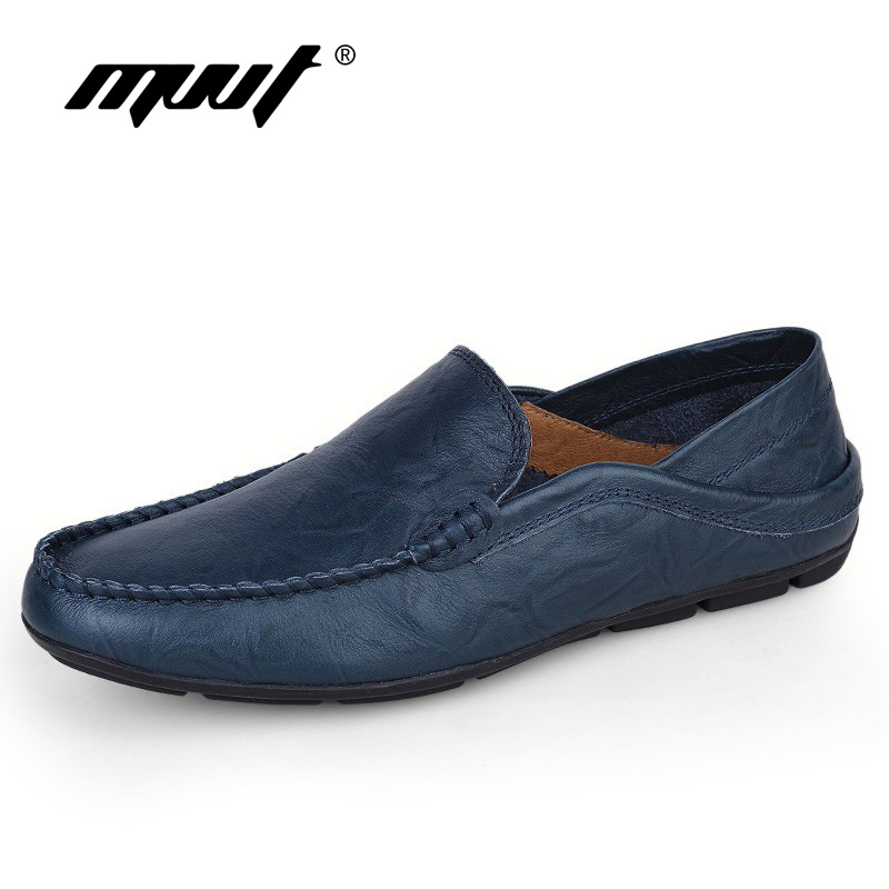 Plus size genuine leather men casual shoes slip on spring and autumn soft loafers shoes men moccasins shoes men's flats shoes цены онлайн