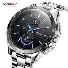 Célèbre marque hommes d'affaires montres lumineux 2016 LONGBO plein montre à quartz en acier hommes étanche 30 m mâle horloge