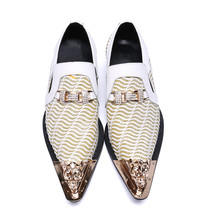 Genuine Leather Oxfords Slip On Crystal Studded Mens Wedding Shoes Business Leather Shoes Men Flats Luxury White Steel Toe Shoes