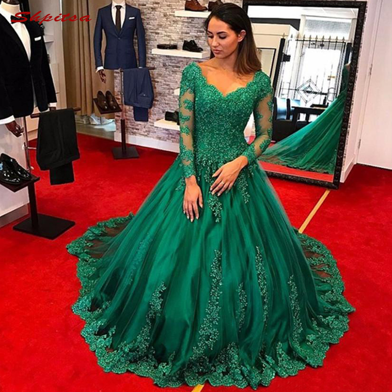Emerald Green Long Sleeve Lace   Evening     Dresses   Party Plus Size Ladies Tulle Beaded Sequin Women Formal   Dresses     Evening   Gown