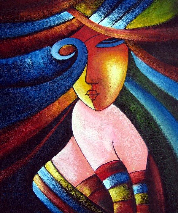 ⊰Pared al óleo pintada a mano arte nacional belleza mujeres ...