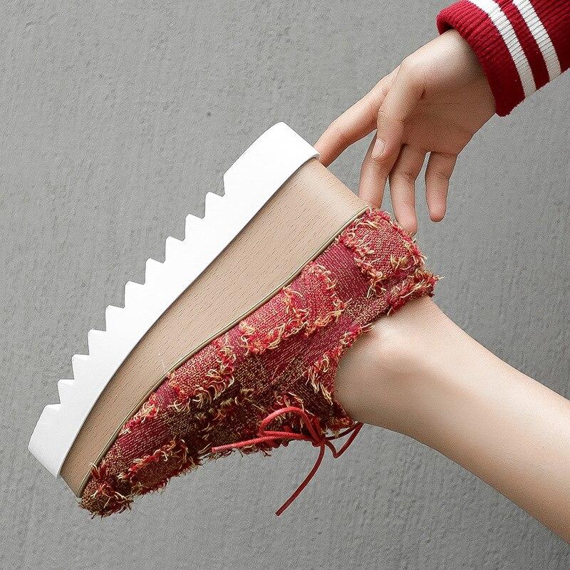 Zapato Nueva Aumento Bottom Plataforma Casual 2019 Color En Apricot Moda Las Planos Borlas La Primavera Zapatos De rojo Muffin Mujeres Simple AwCaq
