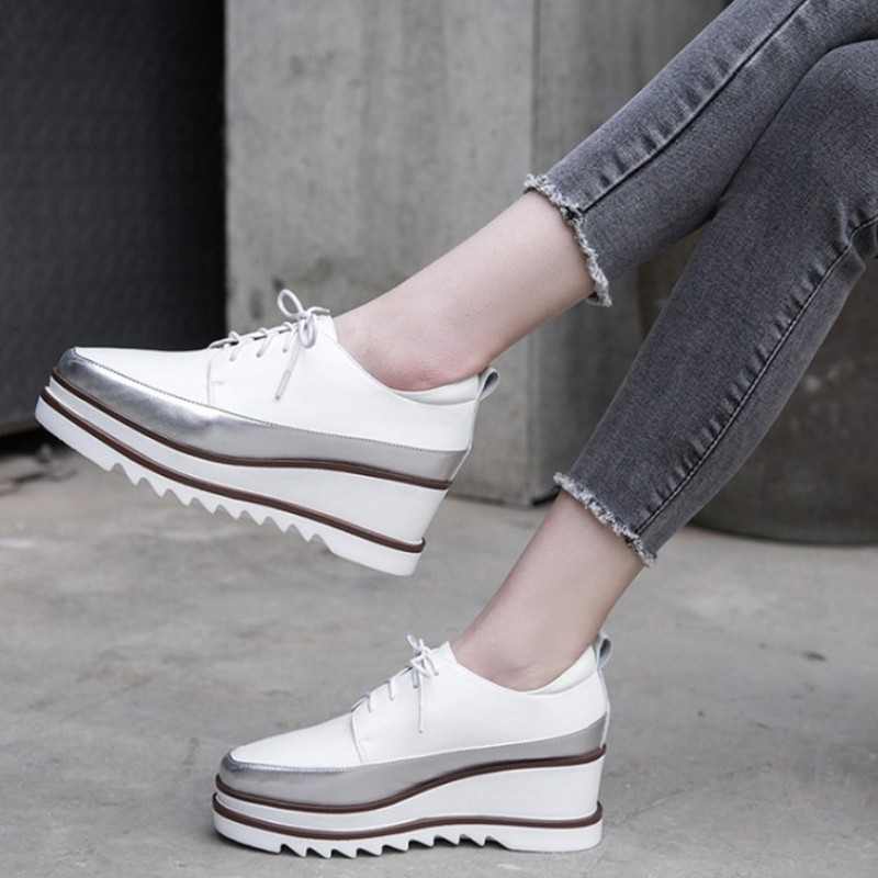2019 Spring Platform Shoes Women High Heels Square Toe Genuine Leather Shoes Women Pumps Comfortable Wedge Shoes Woman-in Women's Pumps from Shoes    1