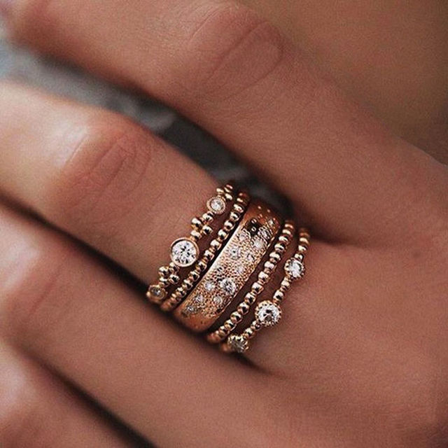 5Pcs\set Cute Chic Style Bright Rhinestone Midi Ring Knuckle Finger Rings Joint