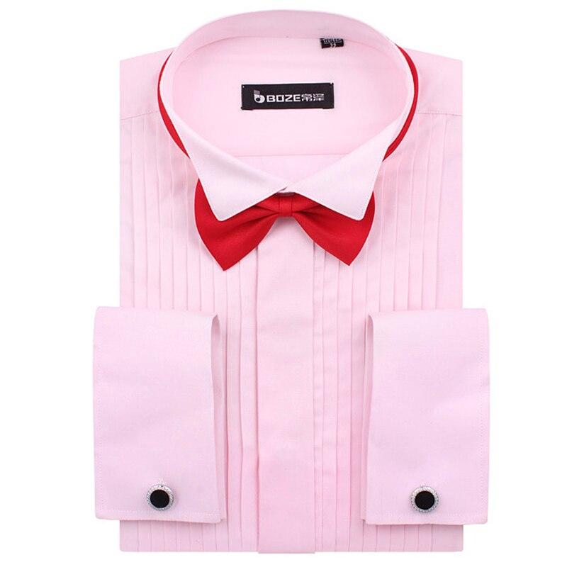 Men's French Cuff Tuxedo Shirt Solid Color Wing Tip Collar Shirt Men Long Sleeve Dress Shirts Formal Wedding Bridegroom Shirt #6