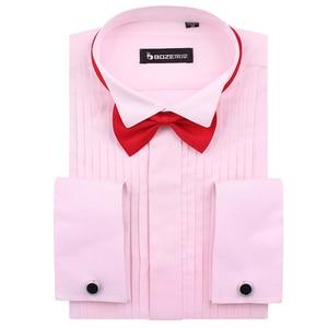 Image 5 - Mens French Cuff Tuxedo Shirt Solid Color Wing Tip Collar Shirt Men Long Sleeve Dress Shirts Formal Wedding Bridegroom Shirt