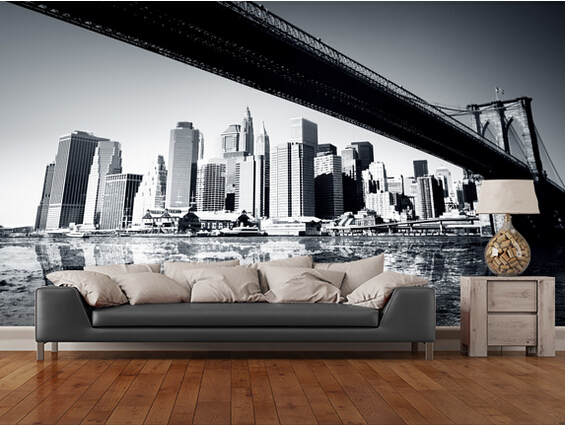 Custom Black White Retro Wallpaper,New York Wallpaper For