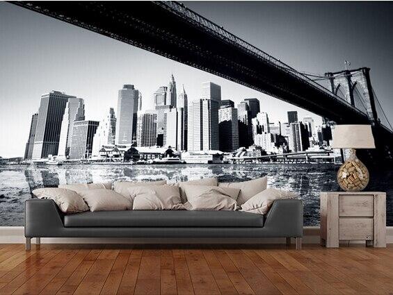 Custom Black White Retro WallpaperNew York Wallpaper For Walls 3dliving Room Kitchen