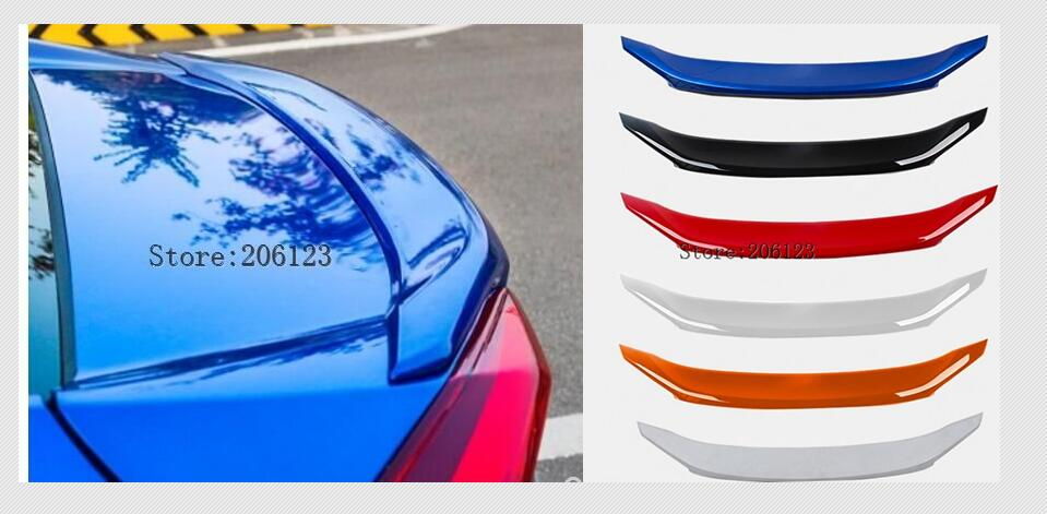 PAINT ABS CAR REAR WING TRUNK LIP SPOILER FOR Honda Civic 2016 2017 2018 paint abs car rear wing trunk lip spoiler for 16 17 honda civic 2016 2017 by ems with led lamp