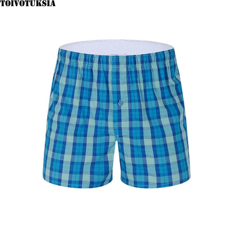TOIVOTUKSIA Coton Boxer Shorts Plaid Mens Underwear M-XXXL pour Cuecas Boxer