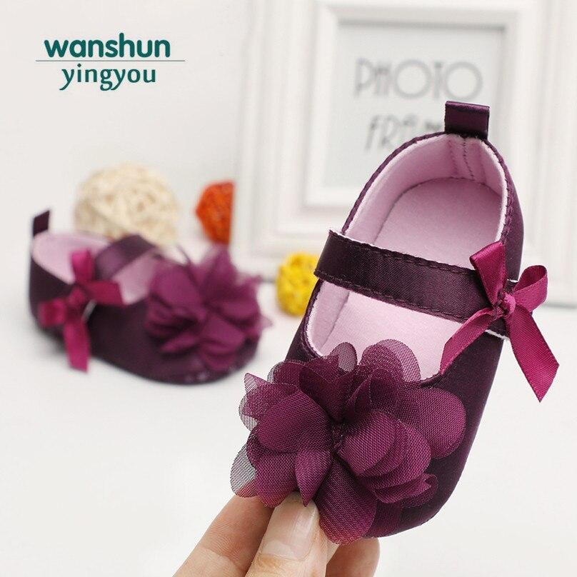 תינוק בנות נעלי יילוד אנטי להחליק נסיכת פרחוני הראשונה ווקר ילדים מתוק חמוד עריסה תינוקות bowknot הנעלה 2018