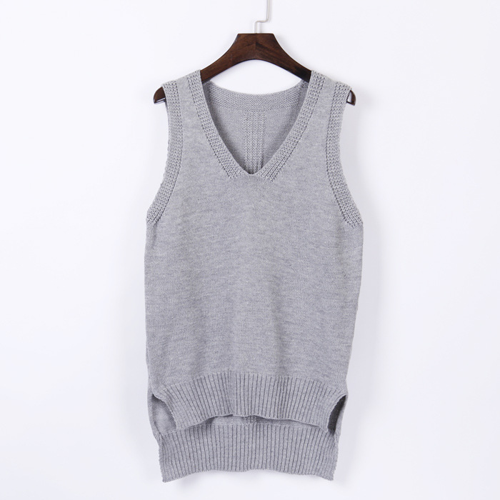 Plus Size V Neck Autumn Dress Hoody Wool Sweater Sleeveless Sweater Women's Vest Fashion Casual Female Solid Color Waistcoat