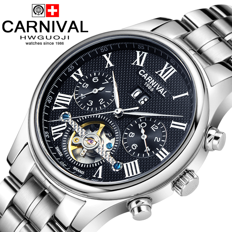 Carnival waterproof tourbillon Watch Men silver Stainless steel Sapphire Automatic Mechanical Watch relogio masculine цена 2017