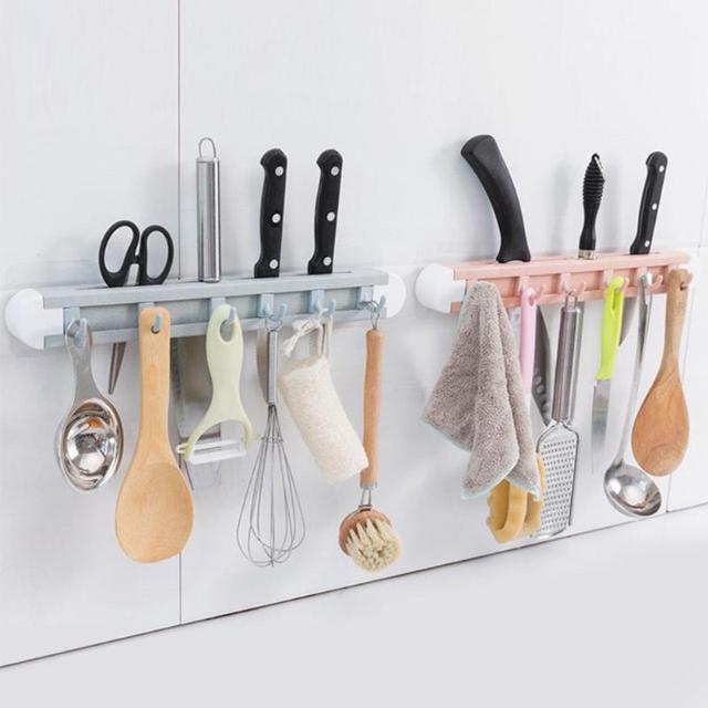 Plastic Kitchen Knife Holder Wall Mounted Hanging Hooks Storage Rack Towel Hanger Utensil Organizer