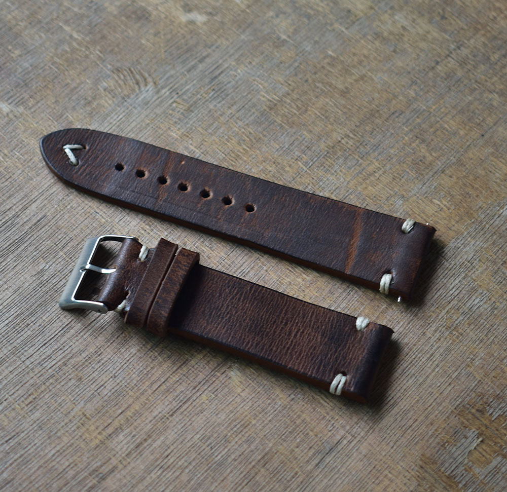 Hand Made Hand Stitched Vintage Leather Watch Strap 20mm 22mm 24mm Distressed Look Watch Bands Stainless Steel Polished Buckle