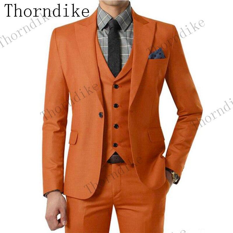 Costume Made 10 Colors Orange 2019 Gentleman Suit Men Terno Slim Fit Blazer Green Wedding Groom Tuxedo Mens Suit 3 Pieces-in Suits from Men's Clothing    1