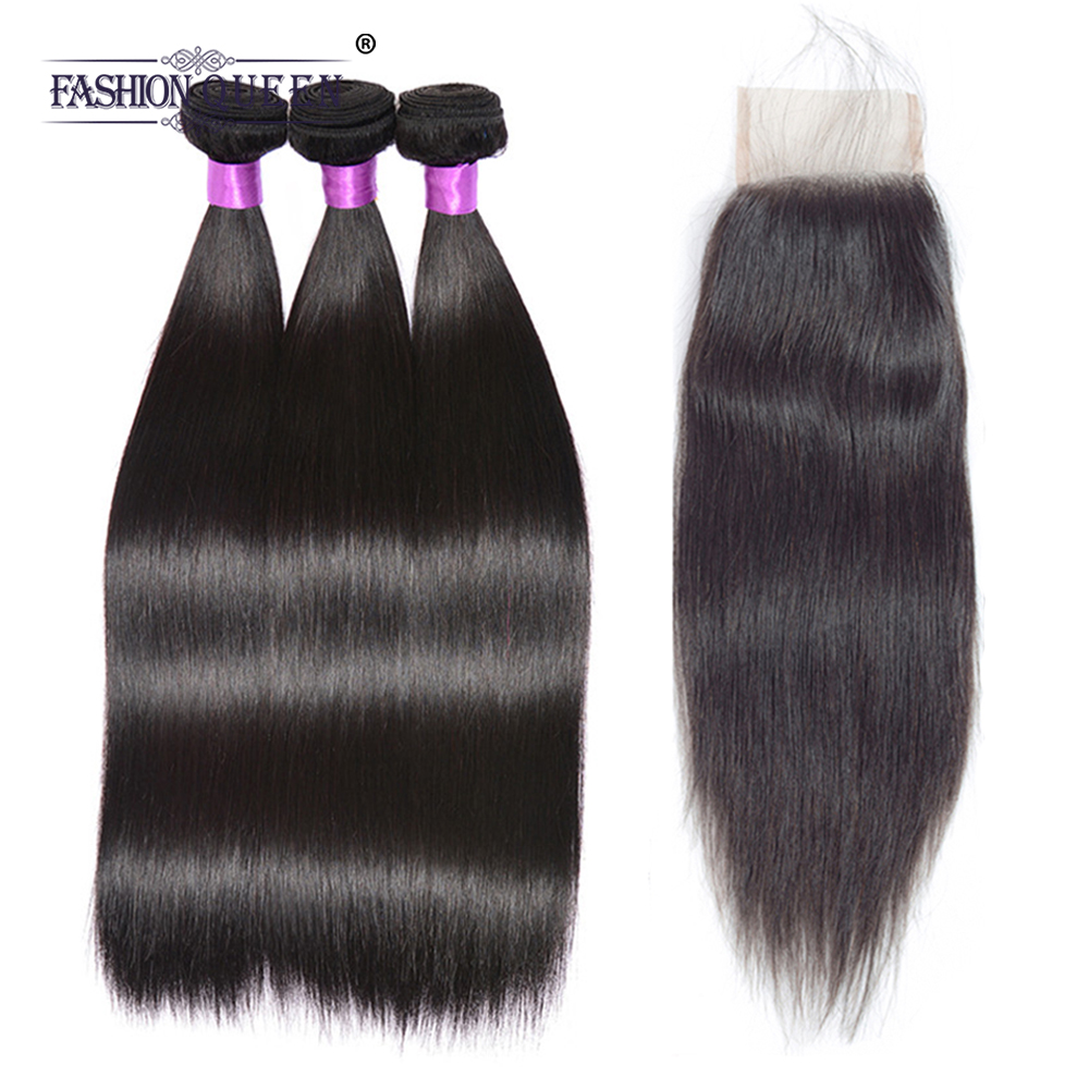 Fashion Queen Hair Human Hair Bundles With Closure Brazilian Straight Hair Free Part 4*4 Lace Closure Non Remy Hair Extension
