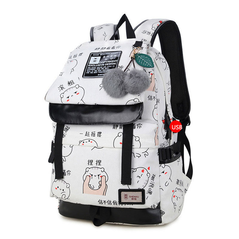 4b1c55d9637 New Women Backpack Female student casual schoolbag text canvas printed  Daybag Vintage Notebook Backpack For Girls School Teens